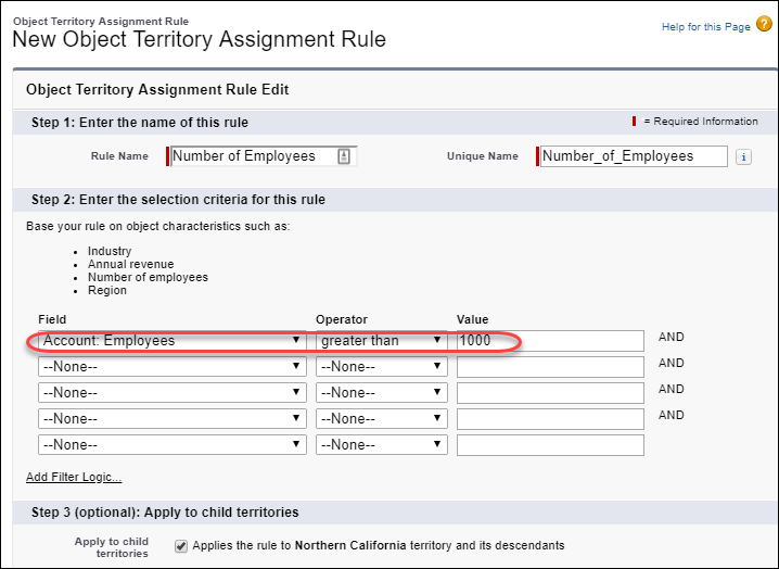 Assignment rule with a numeric filter criterion for number of employees greater than 1,000
