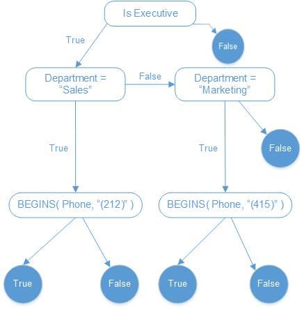 取引先責任者がエグゼクティブかどうか、部門が営業またはマーケティングか、電話番号が 212 または 415 で始まるかどうかを確認する選択ツリー図