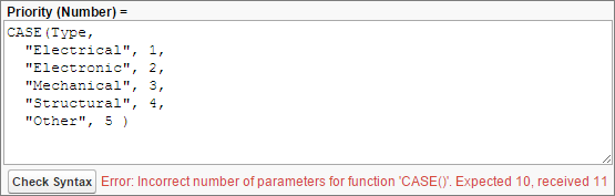 関数のパラメータの数が正しくない構文エラー