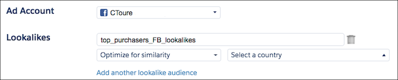The Advertising Studio Facebook lookalike audience configuration, called top_purchasers_FB_lookalikes.