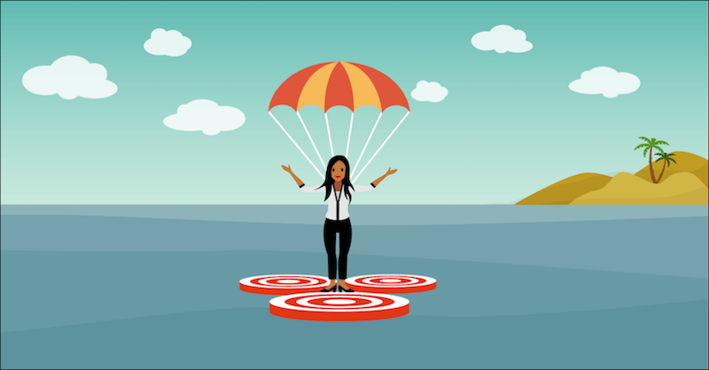 A marketer parachuting into the water and hitting three targets.