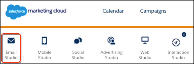 The Marketing Cloud primary navigation with the Email Studio icon circled in red.