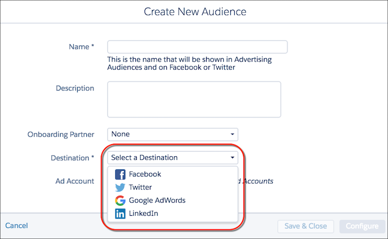 The Create New Audience form with the destination dropdown menu circled in red.