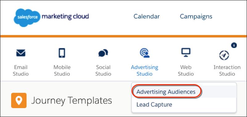 The Marketing Studio primary navigation bar with the Advertising Studio submenu item, Advertising Audiences, circled in red.