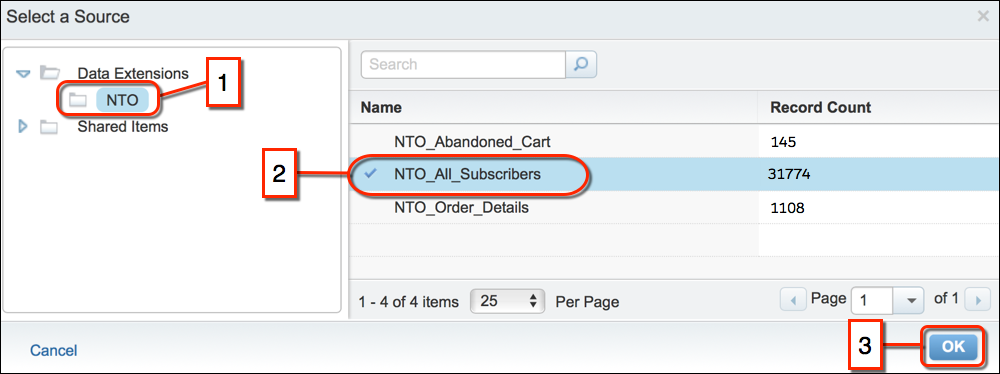 The Select a Source screen with the NTO folder circled in red, followed by the NTO_All_Subscribers data extension circled in red, and the OK button circled in red.