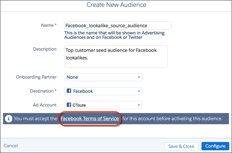 The Advertising Studio Create New Audience form with the Facebook Terms of Service link circled in red.