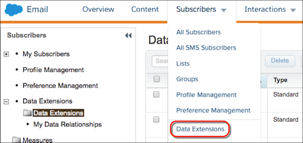 The Subscribers submenu in Email Studio with the Data Extensions submenu item circled in red.