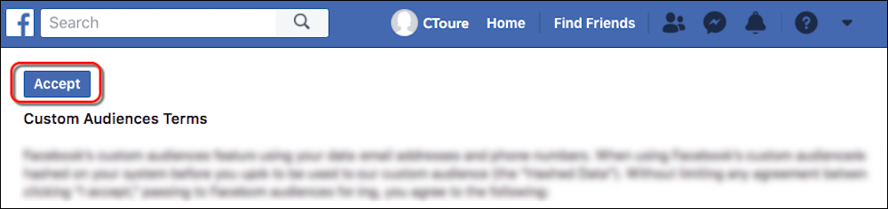 The Facebook Terms of Service page with the Accept button circled in red.