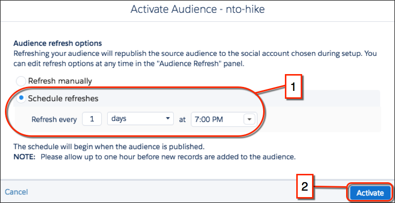 The Advertising Studio audience refresh form with the Schedule refreshes radio button and the Activate button both circled in red.