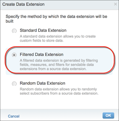 The Create Data Extension form with the Filtered Data Extension option circled in red.