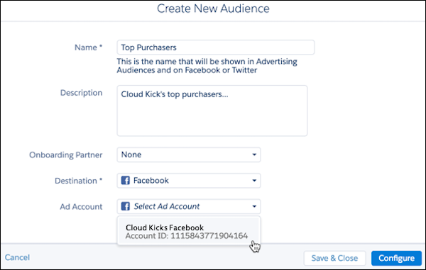 Create New Audience called Top Purchasers that contains Cloud Kick's top purchasers