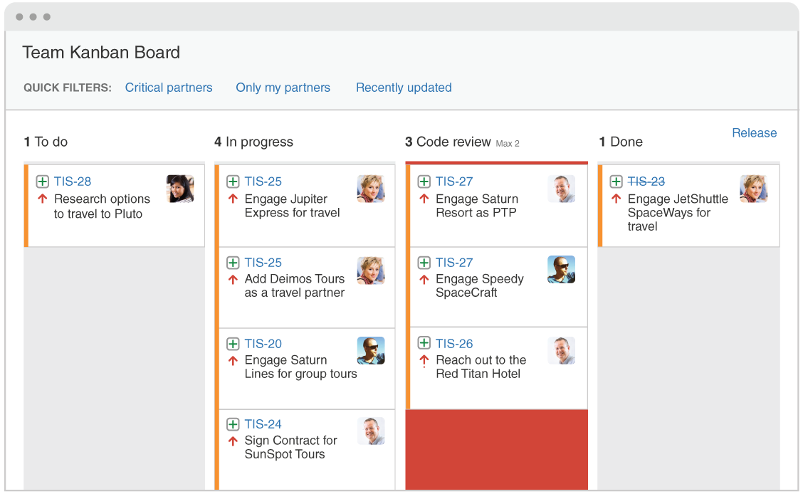 Screenshot of a Team Kanban Board, with four columns (To do, In progress, Code review, and Done)