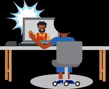 Am Schreibtisch sitzende Führungskraft im Online-Gespräch mit einem Mitarbeiter. Sie führen ein Feedbackgespräch.