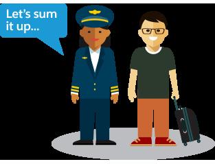 Pilotin steht nehmen einem Fluggast