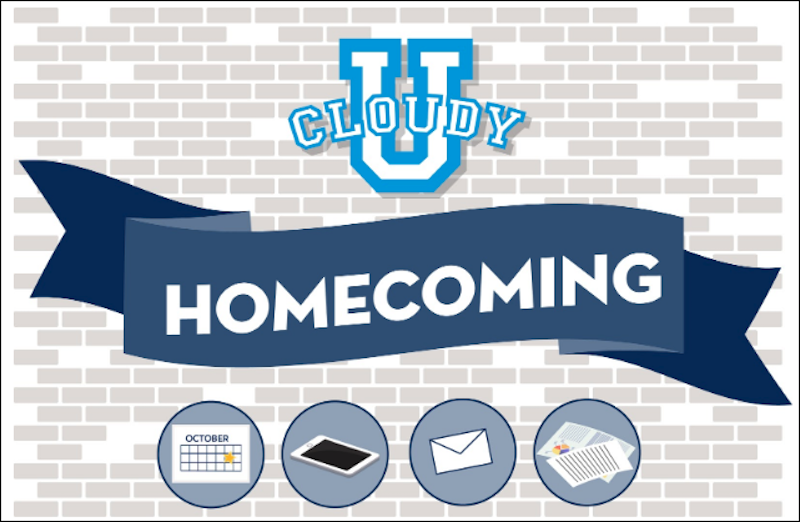 Cloudy College Homecoming banner against a gray brick wall with icons for a calendar, mobile phone, envelope, and paper mailers