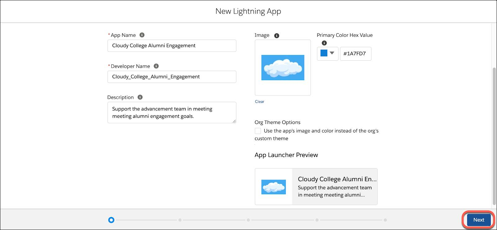 Fill in the basic information for your new lightning app and click Next.