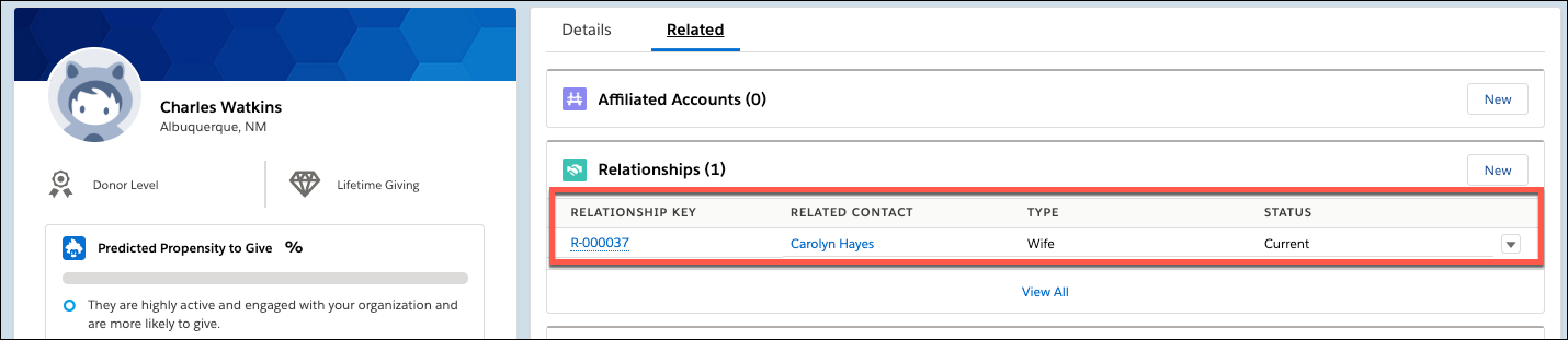 Salesforce Contact record for Charles Watkins with Relationship to Contact Carolyn Hayes highlighted
