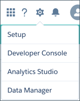 Selections from the Analytics gear icon, including the Data Manager