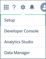 [データマネージャ] を含む Analytics ギアアイコンの選択肢
