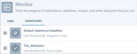 O Gerenciamento de dados do Analytics com a exibição Fluxos de dados selecionada