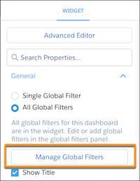 ダッシュボードデザイナで強調表示された [グローバル検索条件を管理] ボタン。