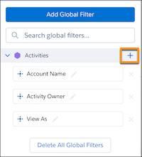 ダッシュボードデザイナで強調表示された検索条件項目追加ボタン