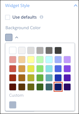 Widget background color picker with the dark blue color highlighted