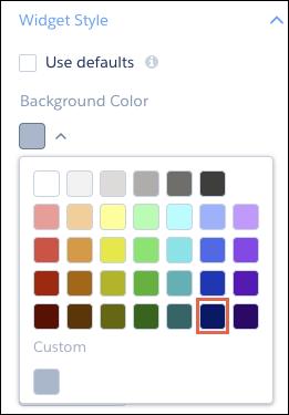 Seletor de cor de segundo plano do widget com a cor azul escuro em destaque