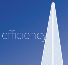 Illustration of efficiency principle showing a pointy-top tower rising into the sky.