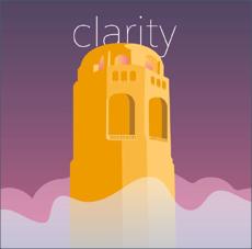 Veranschaulichung des Prinzips der Klarheit mit einem Gebäude, das über die Wolken steigt.