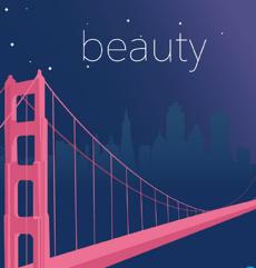 夜のゴールデンゲート橋を示す美しさの原則の図。