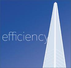 Ilustração do princípio da eficiência mostrando uma torre pontuda erguendo-se em direção ao céu.
