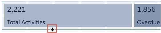 Screenshot mit Kennzahlen im Container mit Cursor über dem Rand des Containers