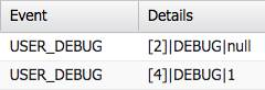 Two debug log events. Line 2 value is null. Line 4 value is 1.