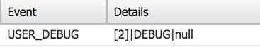 Event:USER_DEBUG. Details: [2] Debug null.
