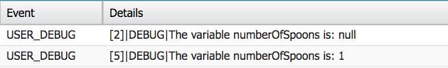 Zwei Ereignisse im Debug-Protokoll. Inhalt von Zeile 2: Die Variable numberOfSpoons ist null. Inhalt von Zeile 5: Die Variable numberOfSpoons ist 1.