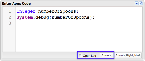 The Enter Apex Code window.