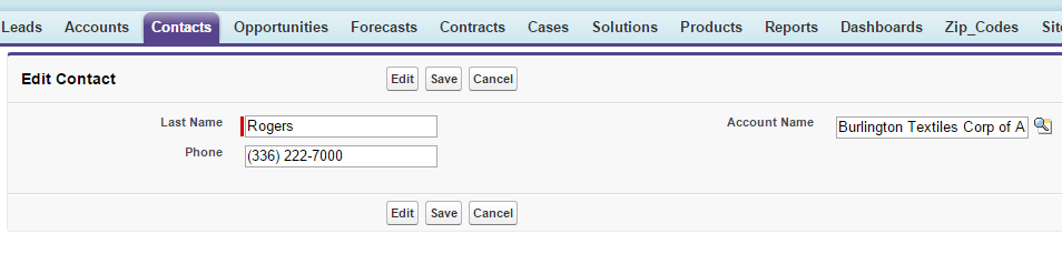 Screenshot of a custom Visualforce page used to edit contact information
