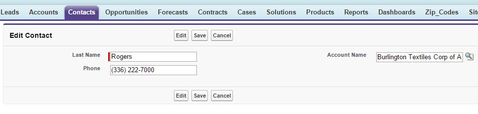 取引先責任者情報の編集に使用するカスタム Visualforce ページのスクリーンショット