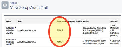 Screenshot of View Setup Audit Trail.