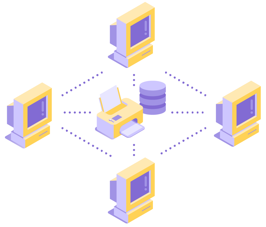 Illustration of a local area network showing PCs connected to each other and to shared storage and a printer