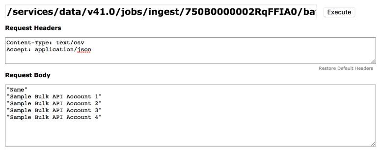 Add job data using REST Explorer
