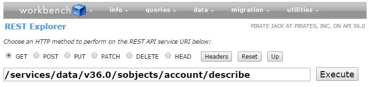 URI zum Beschreiben eines Accounts