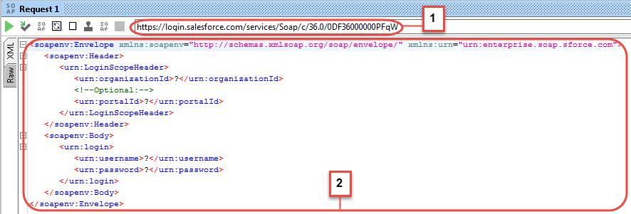 Beispiel für eine SOAP login-Anforderung