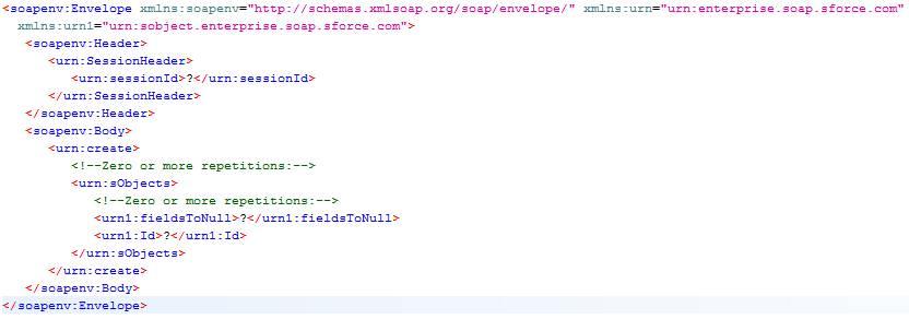 Beispiel für eine create()-Anforderung in SoapUI