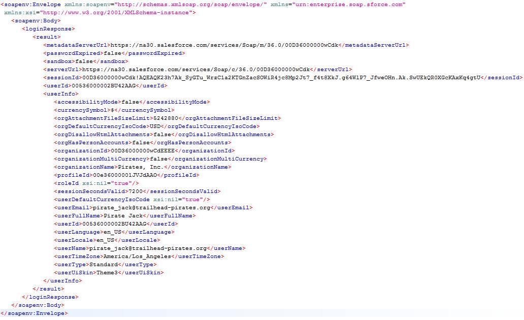 Resposta de login da API SOAP