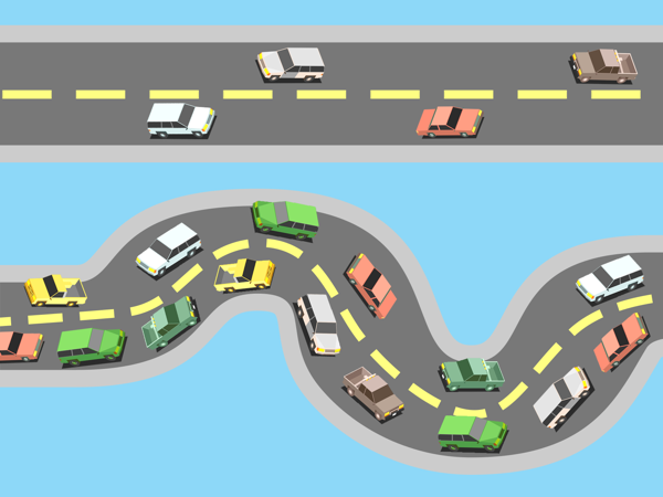 Evenly distributed traffic next to a traffic jam