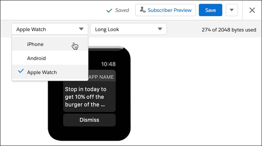 Preview screen of message with apple watch selected in the dropdown.