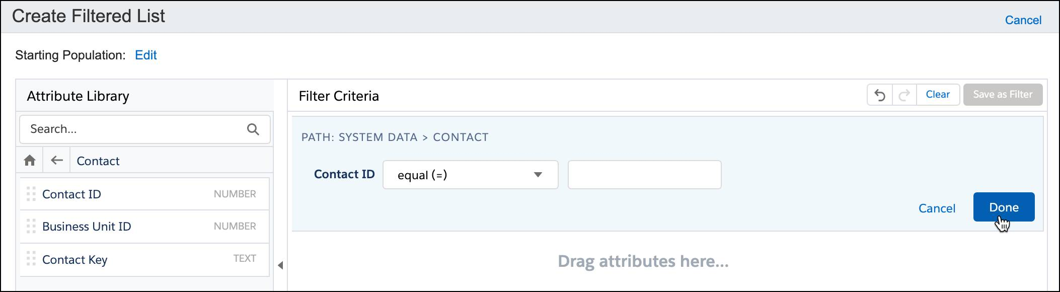 Contact Key selected as filter criteria, and set to equal the field where the key is entered.