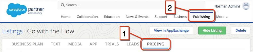 The partner community website navigation menu, highlighting the Publishing console in the primary navigation tab and the Pricing tab in the secondary navigation menu